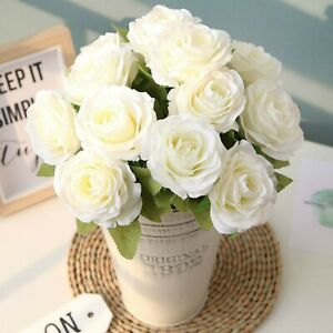 12 Heads Silk Rose Artificial Flowers Bunch Bouquet Wedding Home 4colors