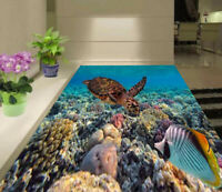 3D Colorful coral reef and Sea Turtle Bathroom Floor Sticker Wall Mural Decor