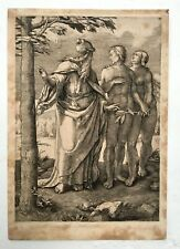 Gravure ancienne, Adam et Eve, XIXe