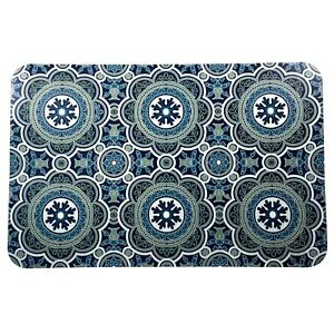 Set of 4 Easy Clean Blue Placemats 17x11.25 Modern Moroccan Tile Look SHIPS FREE