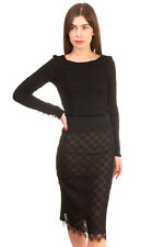 Pencil Skirt Size XS Black Lace Front See Through Split Back High Waist