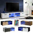 Modern Entertainment Console TV Cabinet Stand Media Furniture Shelf LED White
