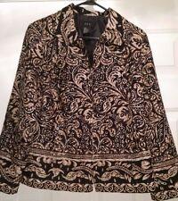 RQT Womens Brown White Black Design Zipper Front Blazer Jacket Coat Size 12