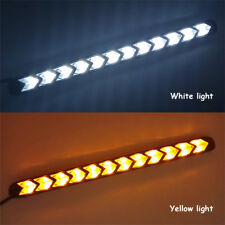 Pair Car White/Amber LED Light Strips Switchback Flowing DRL/Turn Signal Lamp