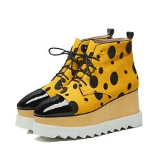 New Women Round Toe Wedge Heels Dot pattern Lace up Platform Shoes Ankle Boots