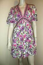 MILLY New York Pink Green White Floral Print Jersey Babydoll Dress Medium