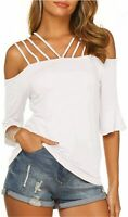 Newchoice Women's Casual Off The Shoulder Tops Straps Ruffle, White, Size Large