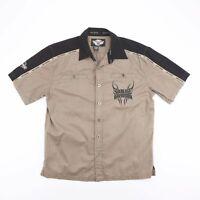 Vintage HARLEY DAVIDSON Pale Brown Short Sleeve Worker Shirt Size Mens Large