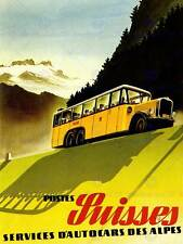 Trasporto POST Bus Alpine Swiss AIN ROAD Pineta art print poster cc2188
