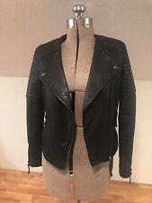 TOPSHOP Top Shop Genuine Leather Jacket Black Sz 2  EUR34  UK6