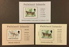 FALKLAND ISLANDS Insect Series Booklets, I, II, III. 1984-5. FVF, MNH. CV $60.00