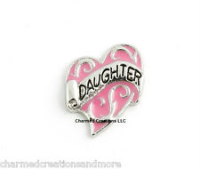 Daughter Heart Love Pink & Silver Floating Charm For Glass Memory Lockets