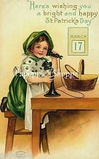 St Patrick's Day Fabric Block Vintage Postcard on Fabric