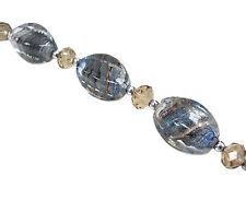10pcs Earthy Swirly Barrel Silver Foil Lampwork Glass Bead 25x13mm New