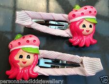 Strawberry Shortcake girls hair clip (2x snap hairclip) OR Peppa Pig, Elmo Hoot