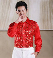 Men's Sequins Shirt Tops Blouses Formal dress Long Sleeve Candy Color Slim Fit