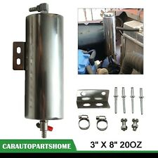 """3"""" x 8"""" Stainless Steel Radiator Fluid Overflow Tank Catch Can Reliable 20OZ"""