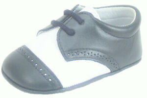 DE OSU - European - Baby Boys White Navy Blue Dress Crib Pram Shoes - Sizes 0-1