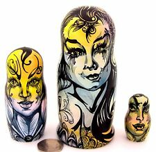 GENUINE Russian 3 MATT Nesting dolls FAIRY GIRLS MAGIC BUTTERFLY OOAK Matryoshka