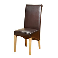 1home Brown Faux Leather PU Dining Chairs Roll Top Scroll Back Oak Leg Furniture