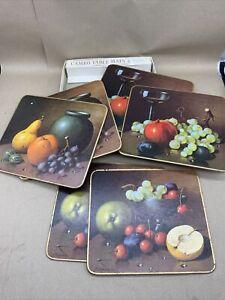 Vintage Cameo Table Mats X 6 Retro Fermor Fruit Wine Design 1960s