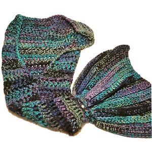 """Handmade Crocheted Mermaid Tail Blanket Throw Afghan Kids Teen 55"""" Multi Color"""