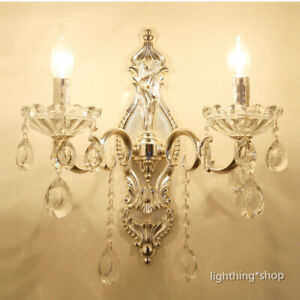 Modern Clear Crystal Glass 2 Candle Lamps Silver Metal Bedroom Night Wall Lights
