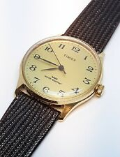 Vintage Timex Marlin Super-Thin Mens Gold Black Watch New Genuine Leather Band