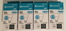 Ecosmart LED 9.5W Replaces 60W Daylight Non-dimmable A19 Light Bulb LOT of 4 NEW