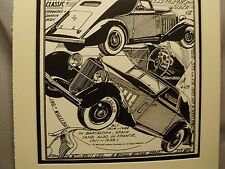 1935 Hispano Suiza  Auto Pen Ink Hand Drawn Poster Automotive Museum Archives