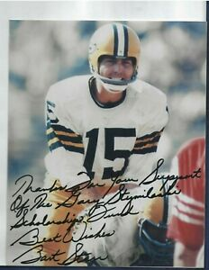 Bart Starr Autographed Green Bay Packers Football HOFer 8x10 Photo PSA Letter