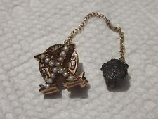 Old 10k Solid Gold Chi Omega Sorority Pin Badge w/Attachment
