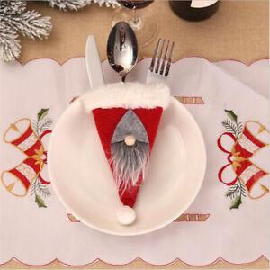 Christmas Santa Suit Cutlery Tableware Holder Bag Party Xmas Dinner Table Decor