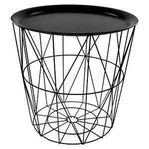 Black Round Metal Tray Side End Table Geometric Storage Basket Home Furniture