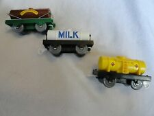 Thomas the Tank Engine Lot of 3 Tanker Train Cars Milk Fuel Chocolate Syrup