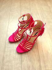 ZARA Women's Fringed Heel Leather Sandals(Strawberry, US  8/EUR 39)
