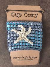 Coffee Cup Cozy-Handmade Crochet Coffee Cup Mug Cozy Sleeve Starfish-Aqua/Grey
