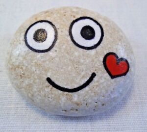 Hand painted rocks, stones, pebbles. Smiley pebble with love heart, gift idea