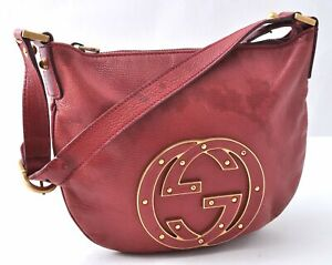 Authentic GUCCI Shoulder Bag Leather Red B1305