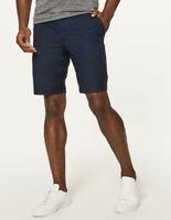 """Lululemon Mens Commission Navy Blue Chino Shorts Size 32 Inseam 10"""" Euc"""
