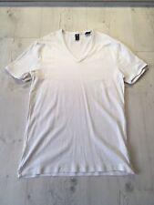 Mens G-Star Raw White T-shirt V Neck Large