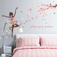 Home Removable Butterfly Fairy Dancer Floral Wall Sticker Kid Girl's Room Decor