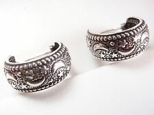 Crescent Moon and Stars Huggie Earrings 925 Sterling Silver Corona Sun Jewelry