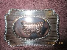 Vintage Metal Countyr Western Coverd Wagon Blet Buckle Gold on Silver