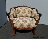 Vintage French Country Provincial Ornate Carved Chair Settee Floral Tapestry #2