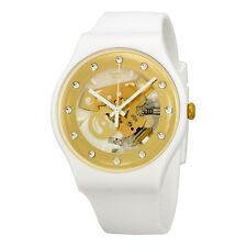 Swatch Originals Sunray Glam Skeleton Dial White Plastic Mens Watch SUOZ148