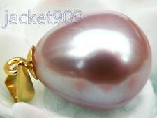 SPARKLING 10*12mm AAA+++ lavender pink south sea pearl pendant 18k yellow gold