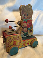 COLLECTIBLE RARE VINTAGE 1950'S FISHER PRICE TINY TEDDY PULL TOY