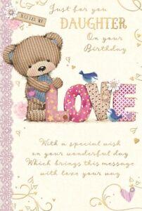 "Daughter Birthday Card - Brown Bear, Little Blue Birds & Big Floral Love 9"" x 6"""