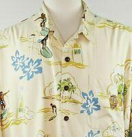 Robert Pepi Hawaiian Traditions Silk Aloha Shirt Mens XL Tropical Beach Surfers